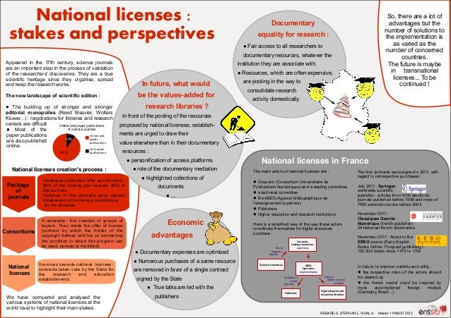National licenses: stakes and perspectives  So, there are a lot of advantages but the number of solutions to the implemen...