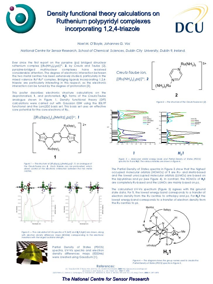 Density functional theory calculations on Ruthenium polypyridyl complexes incorporating 1,2,4-triazole   Ever since the fi...
