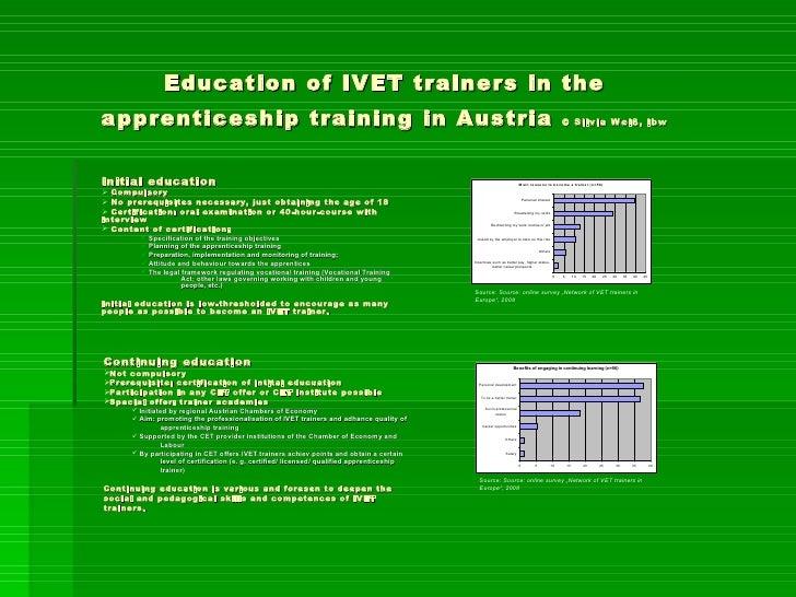 Education of IVET trainers in the apprenticeship training in Austria  © Silvia Weiß, ibw   <ul><li>Initial education </li>...