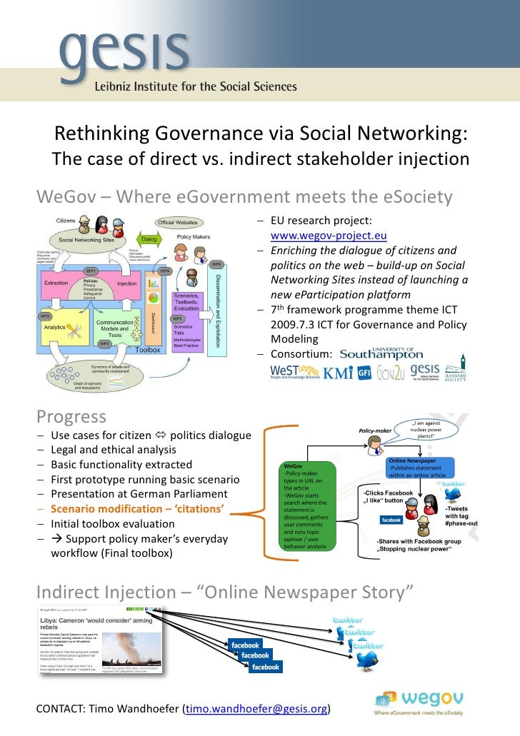 Rethinking Governance via Social Networking: The case of direct vs. indirect stakeholder injection