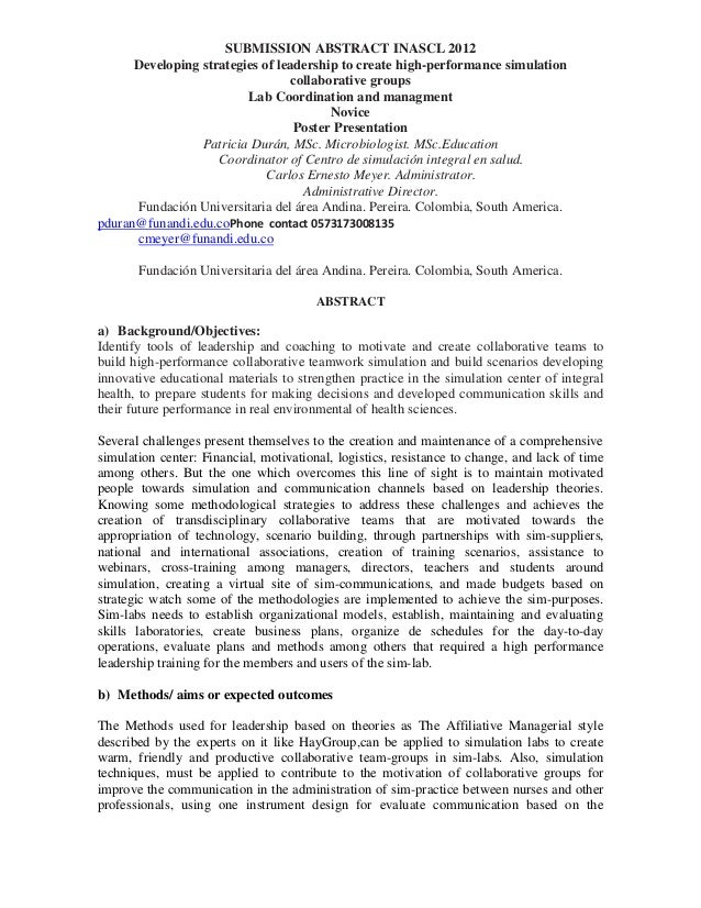 SUBMISSION ABSTRACT INASCL 2012      Developing strategies of leadership to create high-performance simulation            ...
