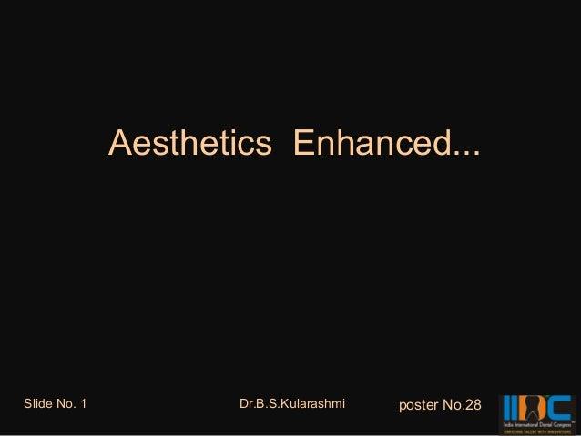 Aesthetics Enhanced...Slide No. 1          Dr.B.S.Kularashmi   poster No.28