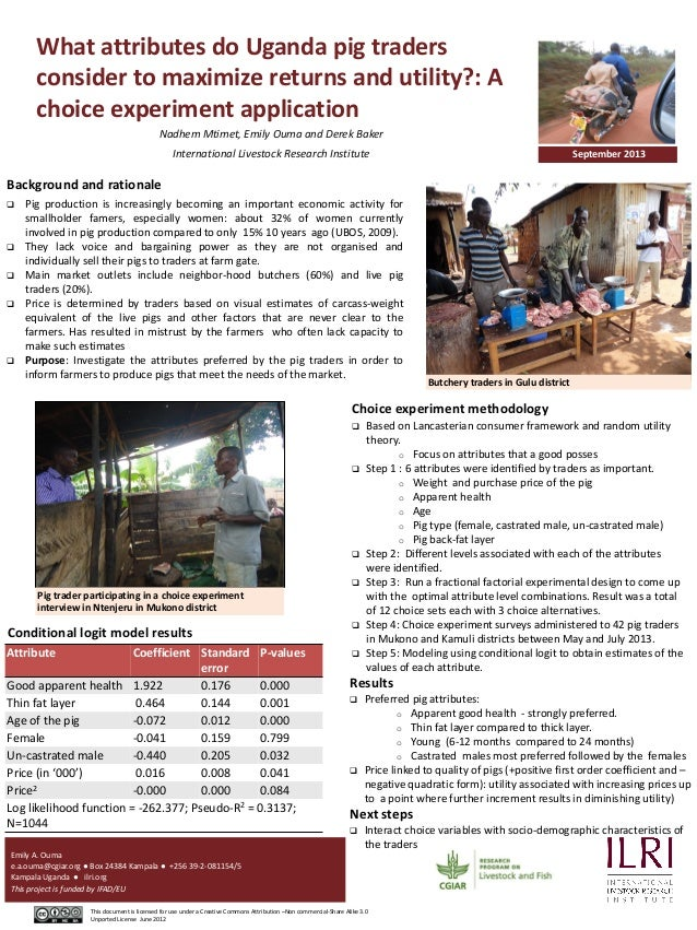 What attributes do Uganda pig traders consider to maximize returns and utility?: A choice experiment application Nadhem Mt...