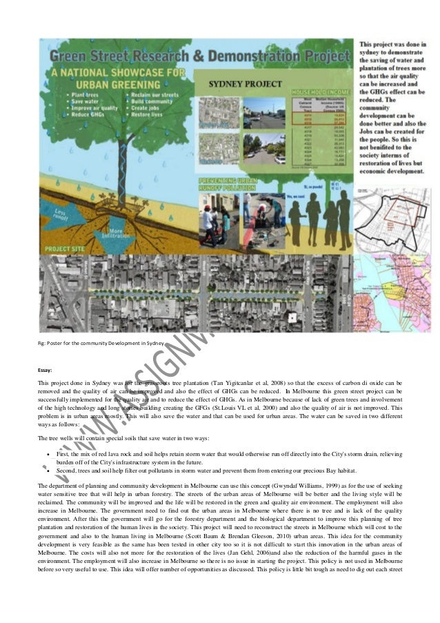 Fig: Poster for the community Development in Sydney  Essay:  This project done in Sydney was for the grassroots tree plant...