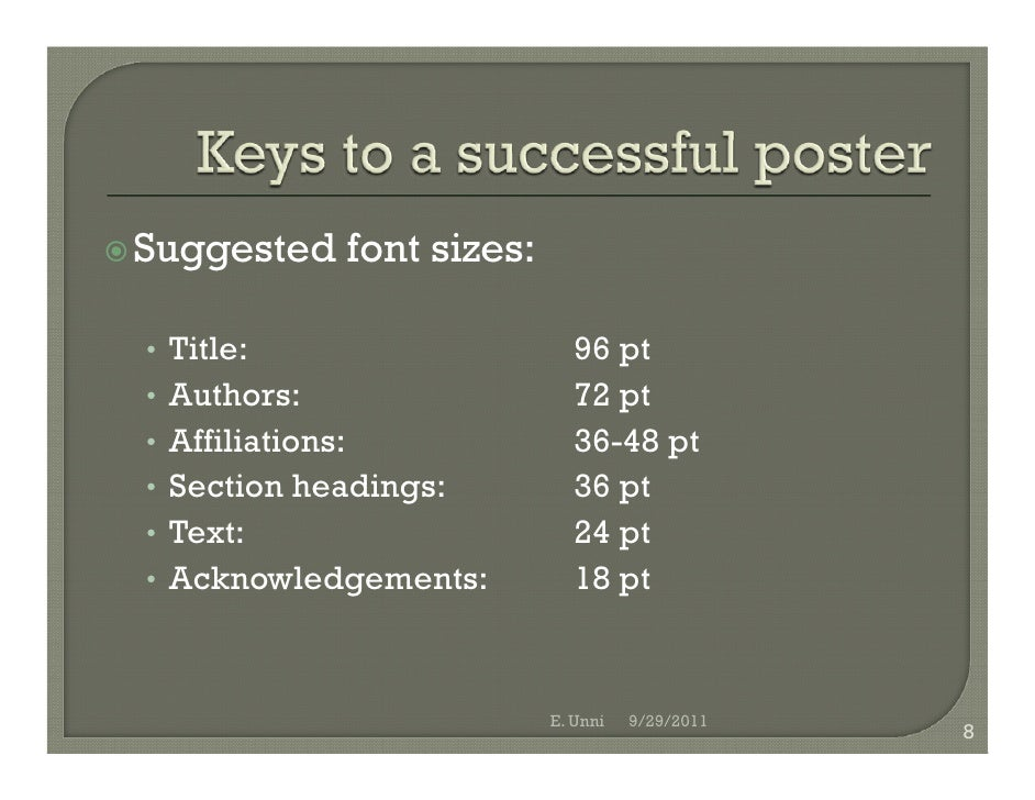 Poster text size