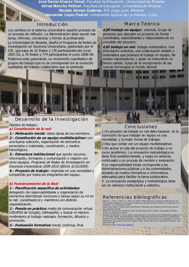 José Daniel Álvarez Teruel. Facultad de Educación. Universidad de Alicante                        Alfred Moncho Pellicer. ...