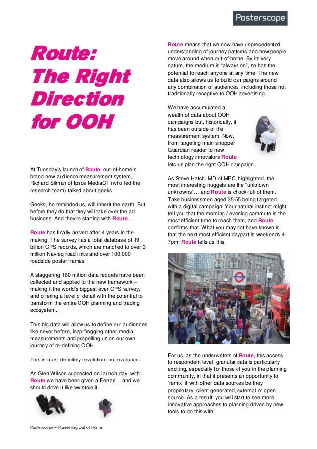Route: The Right Direction in the OOH industry