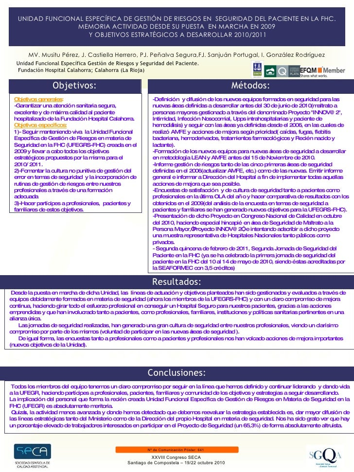 Unidad Funcional Específica Gestión de Riesgos y Seguridad del Paciente.