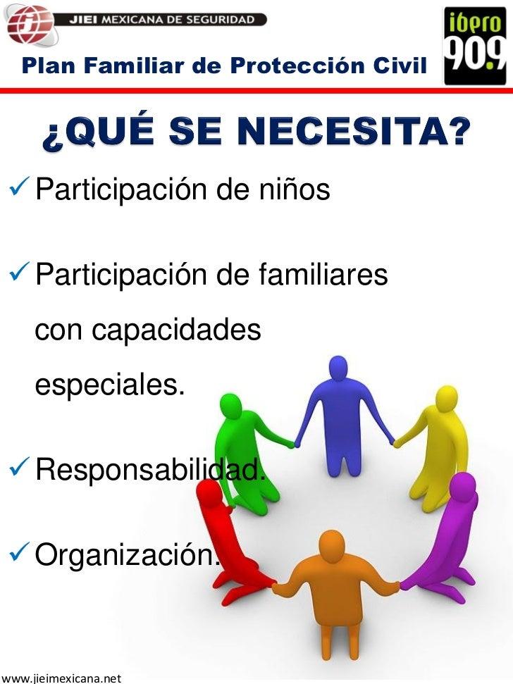 Plan Familiar de Protección Civil Participación de niños Participación de familiares     con capacidades     especiales....
