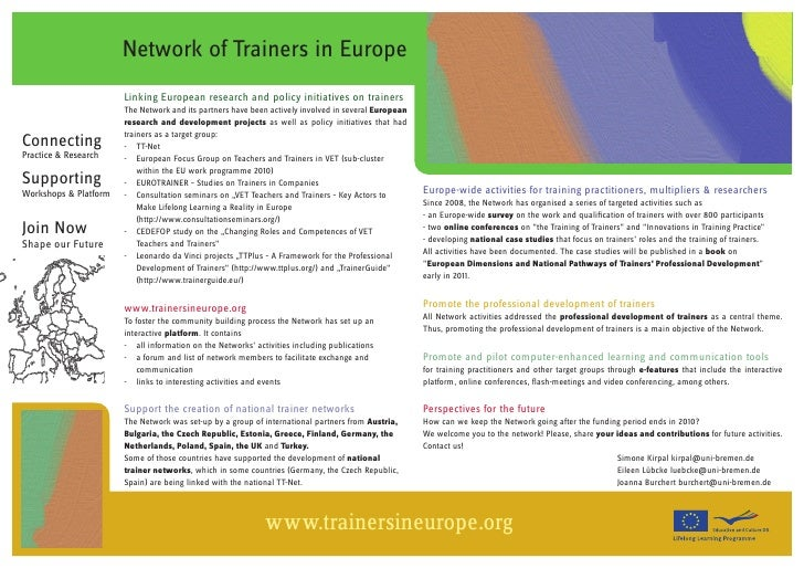 Network of Trainers in Europe                        Linking European research and policy initiatives on trainers         ...