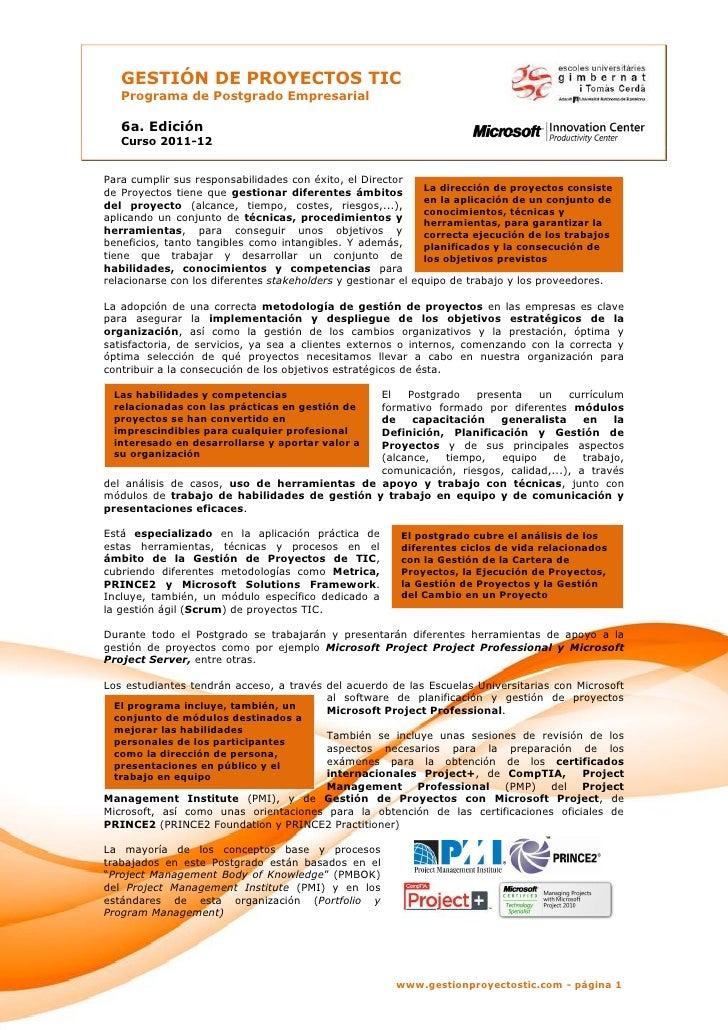 Postgrado gestion proyectos tic EUG 2011-12