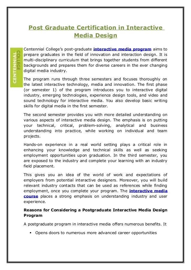 Post graduate certification in interactive media design