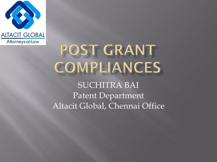 SUCHITRA BAI Patent Department Altacit Global, Chennai Office