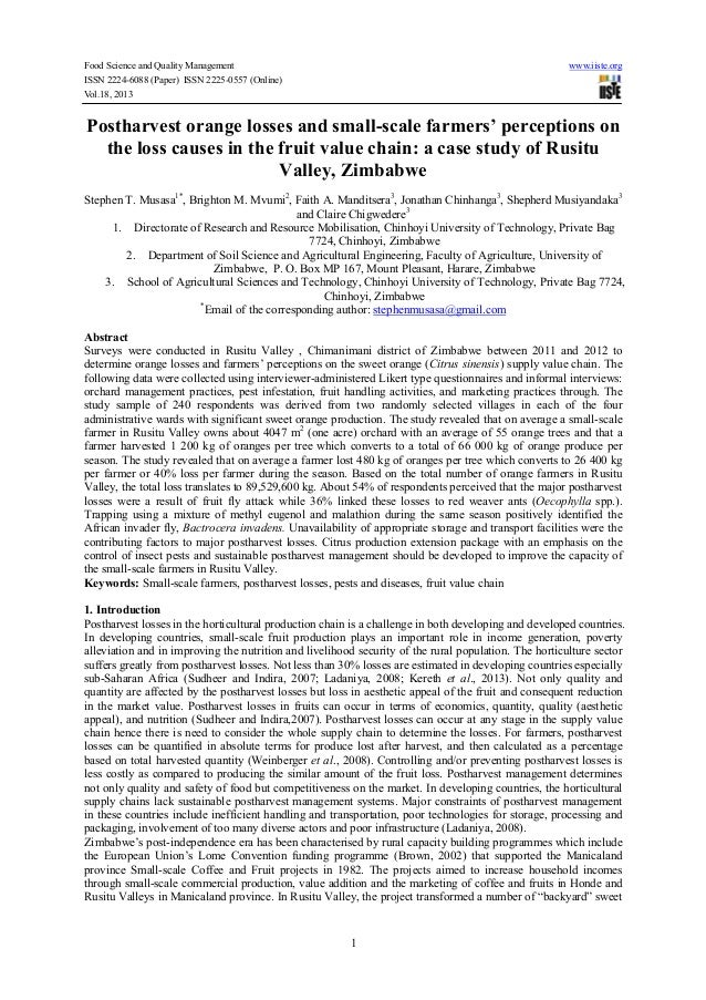 Postharvest orange losses and small scale farmers' perceptions on the loss causes in the fruit value chain-a case study of rusitu valley, zimbabwe