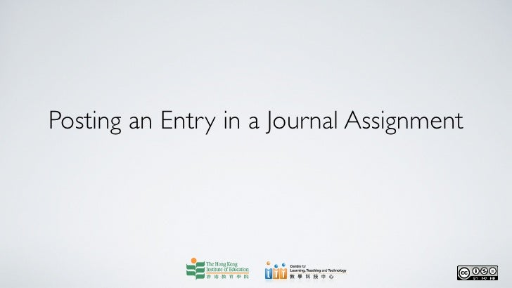 Posting an Entry in a Journal Assignment