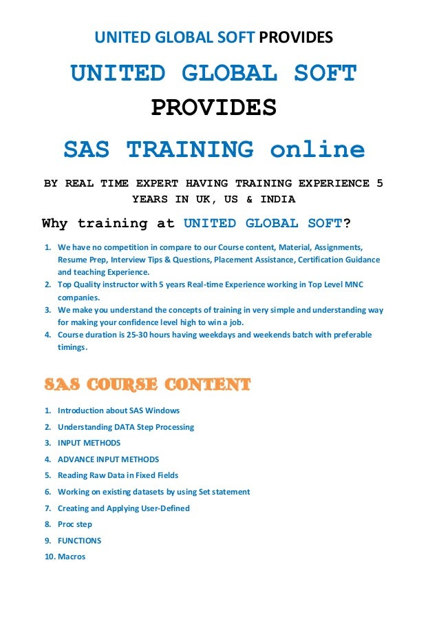 SAS- Clinical, Base Programming, CDISC,STDM & ADAM Online Training  Online Training