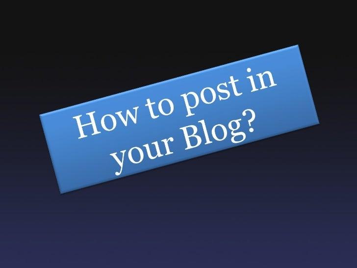 Posting to blog