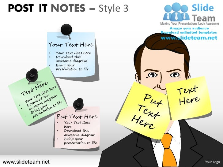 Post it notes on people faces pinned style design 3 powerpoint presentation templates.