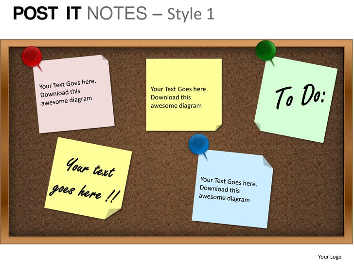 Post it notes style 1 powerpoint presentation templates