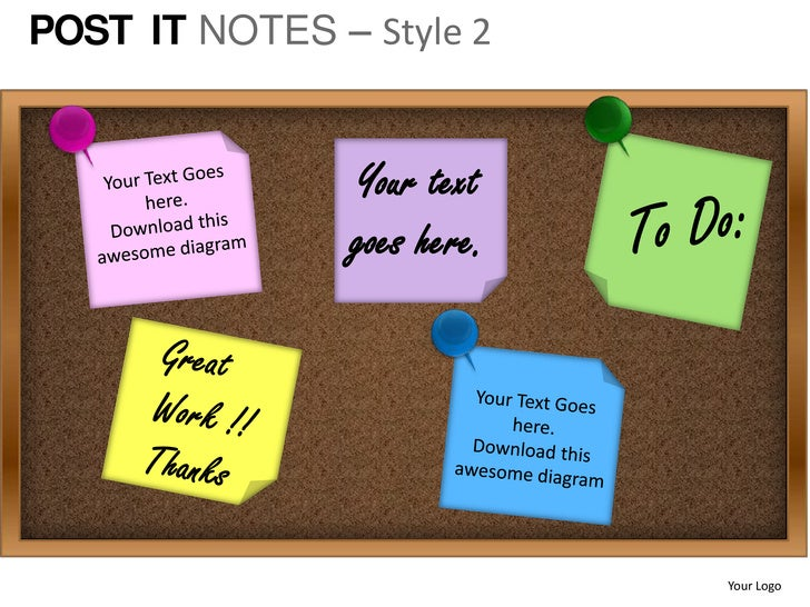 post it notes style 2 powerpoint presentation templates. Black Bedroom Furniture Sets. Home Design Ideas