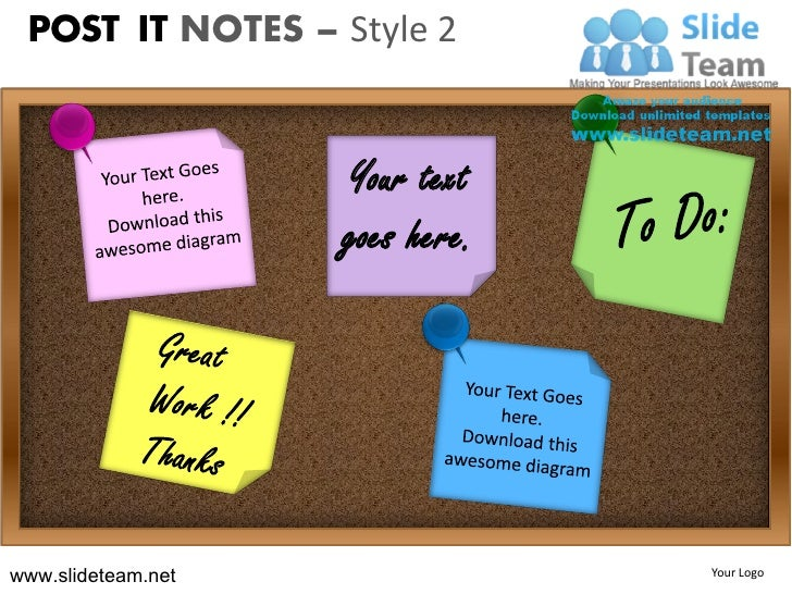 Post it notes style design 2 powerpoint ppt slides.
