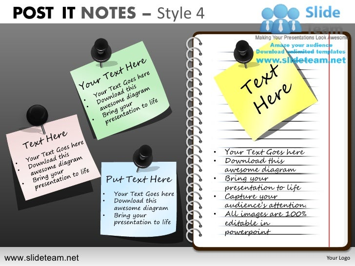 Post it notes style design 4 powerpoint ppt slides.
