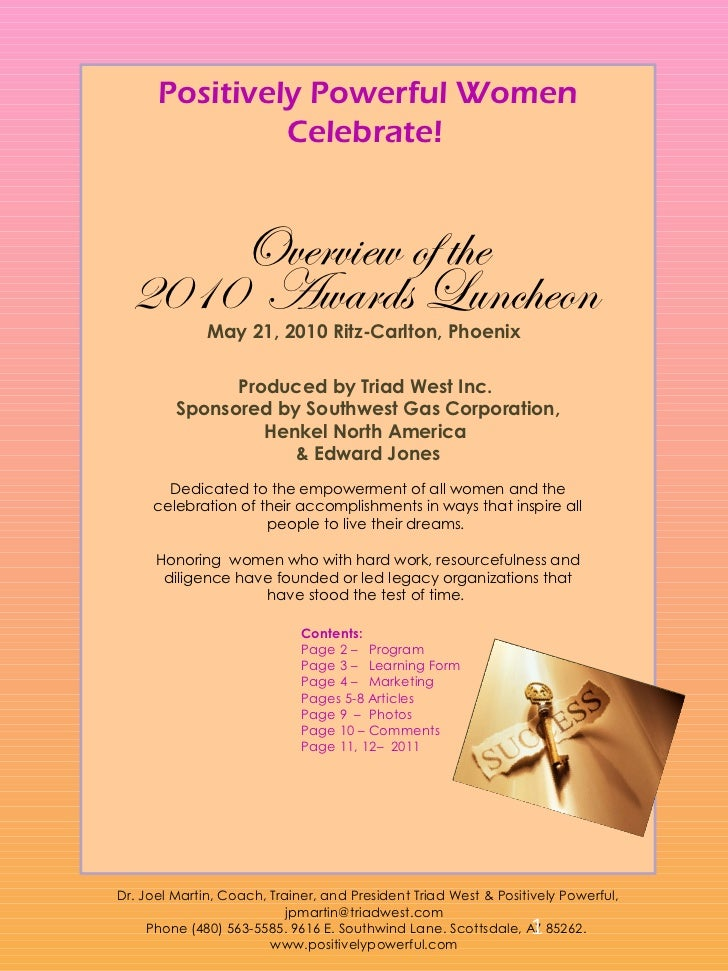 Positively Powerful Women               Celebrate!      Overview of the  2010 Awards Luncheon              May 21, 2010 Ri...