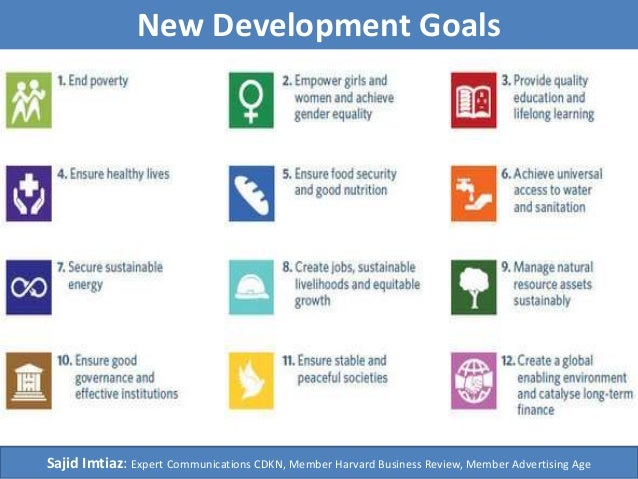 New Development Goals Sajid Imtiaz: Expert Communications CDKN, Member Harvard Business Review, Member Advertising Age