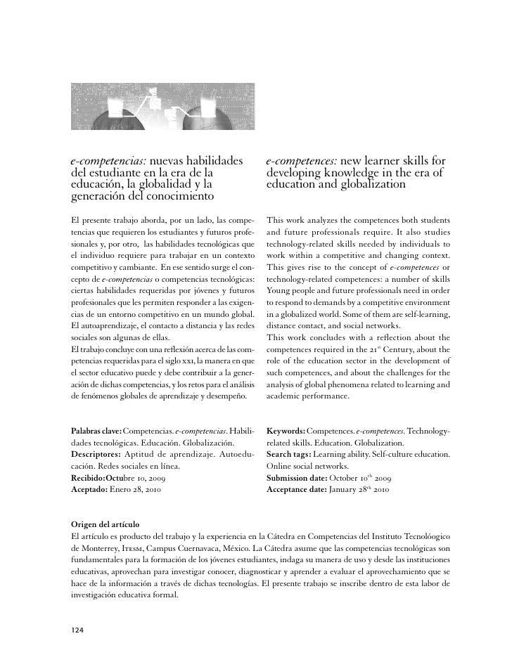 e-competencias: nuevas habilidades                           e-competences: new learner skills fordel estudiante en la era...