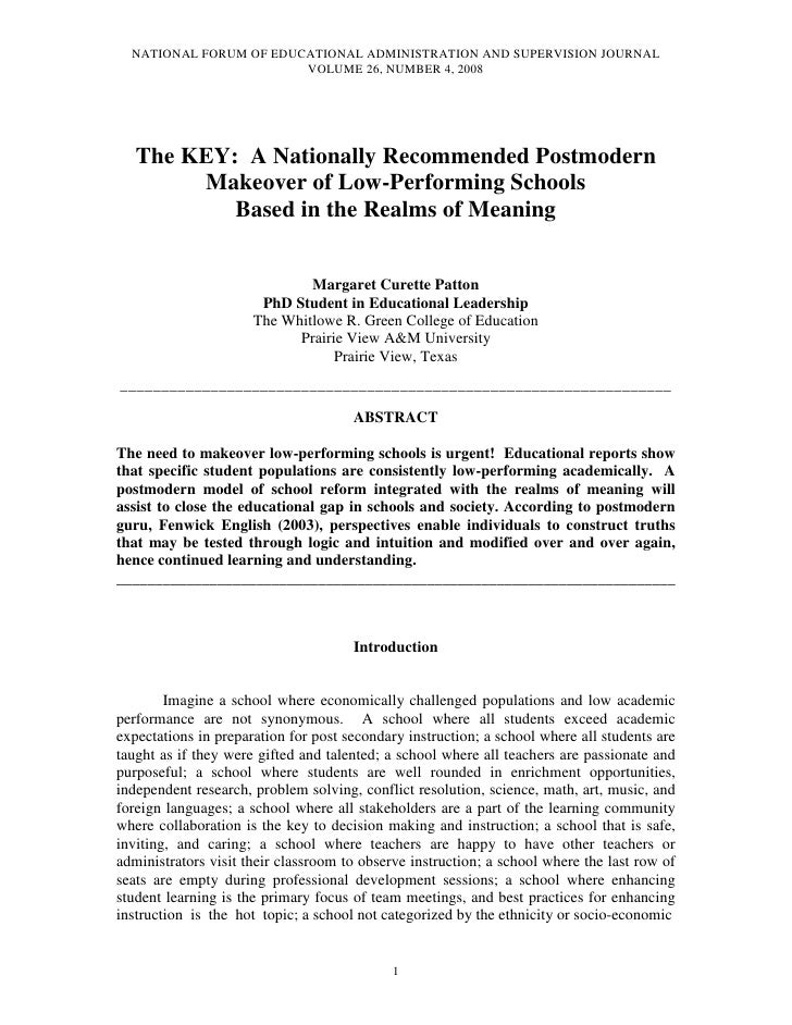 NATIONAL FORUM OF EDUCATIONAL ADMINISTRATION AND SUPERVISION JOURNAL                         VOLUME 26, NUMBER 4, 2008    ...