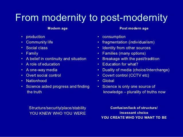 difference of modernism and post modernism Modernism of the late 1800s was followed by postmodernism that arose after the  second world war the latter was a reaction to the former and.