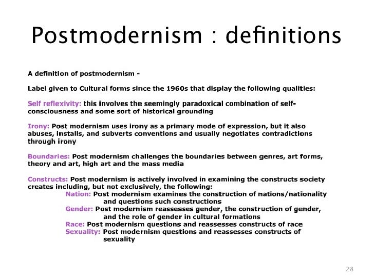 pre modernism modernism and postmodernism and how they have helped to shape important contemporary p Modernism the modernist period they could foresee that world events were spiraling into unknown territory however, as his characters often have hidden.