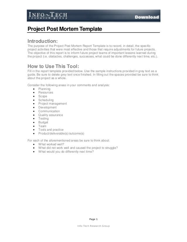 post mortem report template .