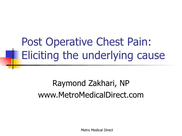 Post Operative Chest Pain: Eliciting the underlying cause Raymond Zakhari, NP www.MetroMedicalDirect.com