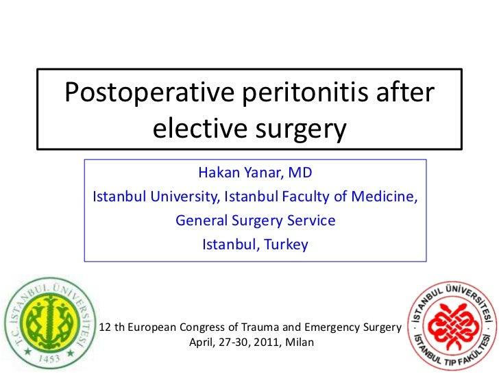 Postoperative peritonitis after elective surgery