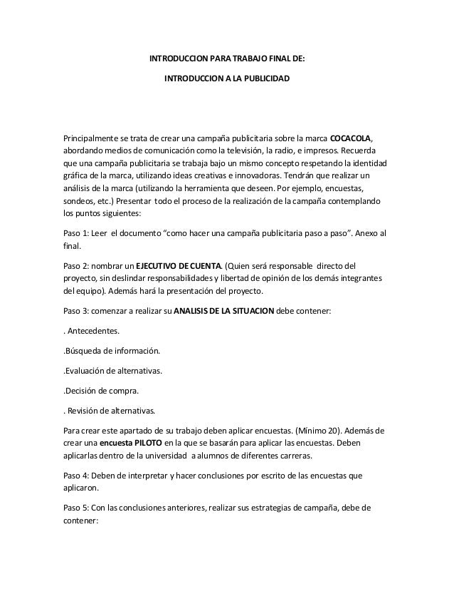 INTRODUCCION PARA TRABAJO FINAL DE:                               INTRODUCCION A LA PUBLICIDADPrincipalmente se trata de c...