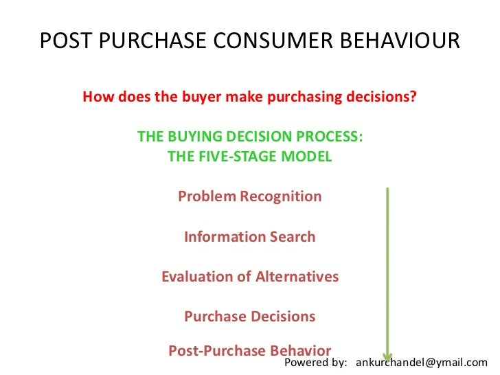 POST PURCHASE CONSUMER BEHAVIOUR<br />How does the buyer make purchasing decisions? <br />THE BUYING DECISION PROCESS: THE...