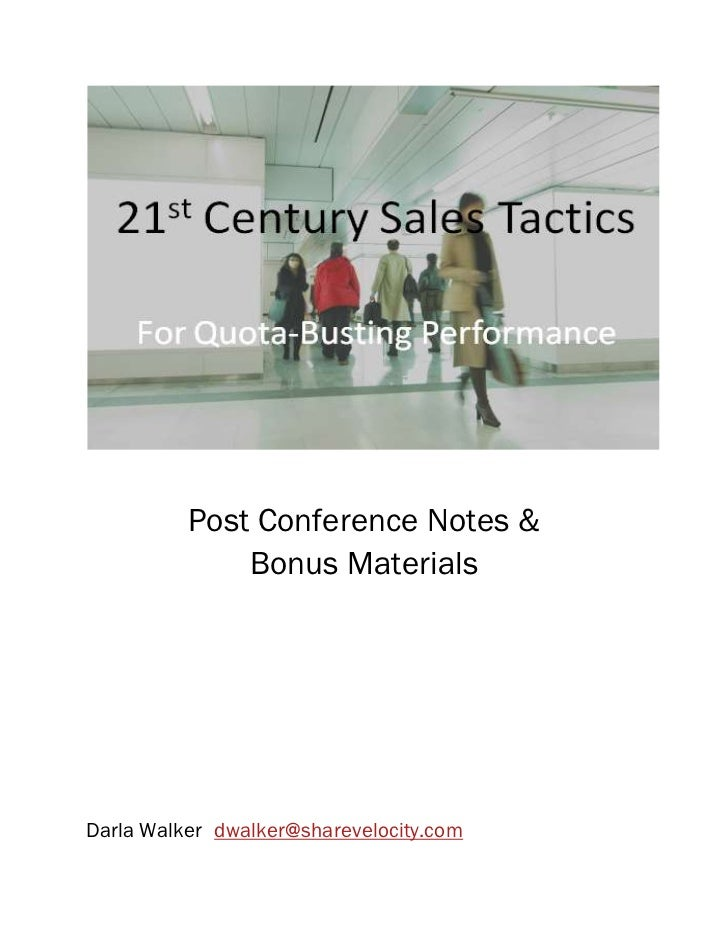 21st Century Sales Tactics for Newspapers: Post-conference notes and bonus materials