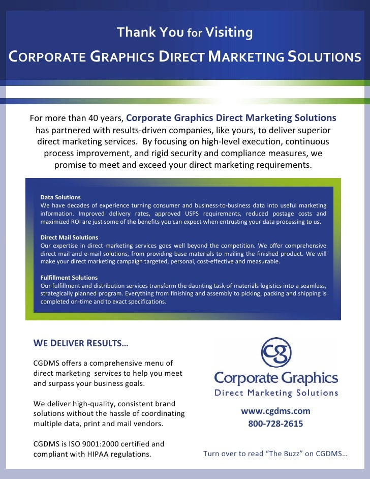 ThankYoufor Visiting CORPORATE GRAPHICS DIRECTMARKETINGSOLUTIONS     Formorethan40years,CorporateGraphicsDirect...