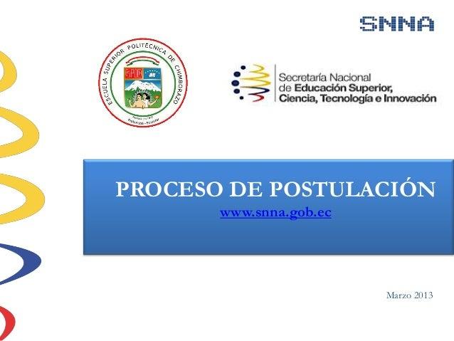 PROCESO DE POSTULACIÓN       www.snna.gob.ec                         Marzo 2013