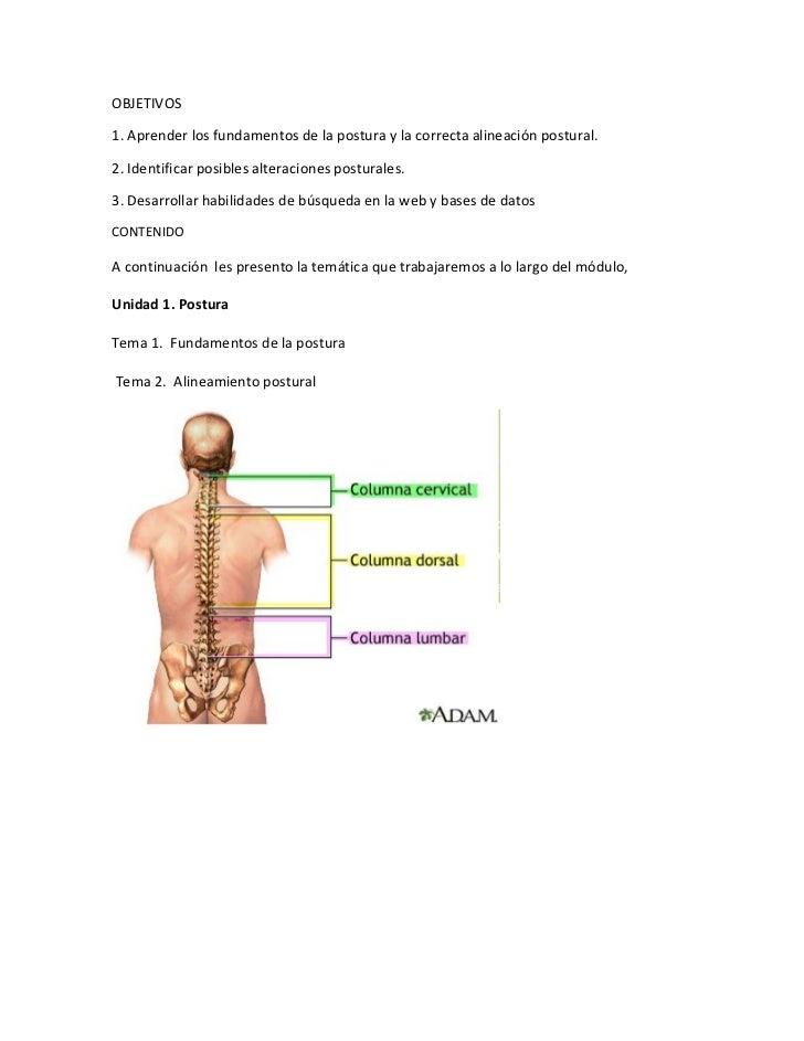 OBJETIVOS1. Aprender los fundamentos de la postura y la correcta alineación postural.2. Identificar posibles alteraciones ...