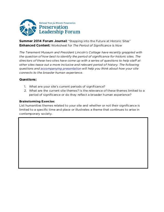 "Summer 2014 Forum Journal: ""Stepping into the Future at Historic Sites"" Enhanced Content: Worksheet for The Period of Sign..."