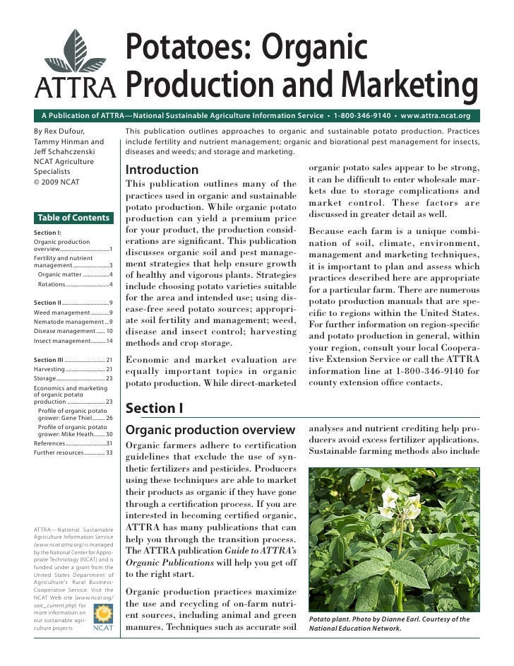 Potatoes: Organic                                                 Production and Marketing    A Publication of ATTRA—Natio...