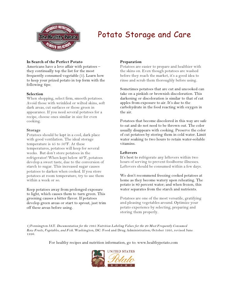 Potato storageandcare
