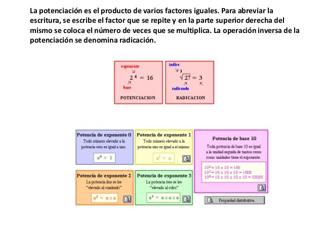 La potenciación es el producto de varios factores iguales. Para abreviar laescritura, se escribe el factor que se repite y...