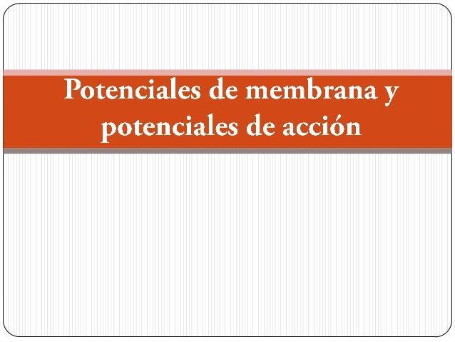 Potenciales de membrana y potenciales de acción