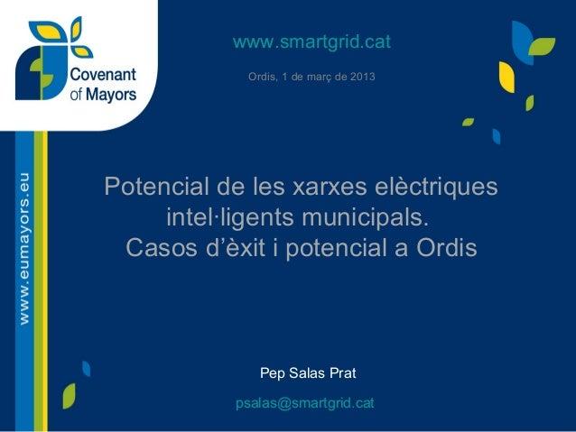 www.smartgrid.cat Ordis, 1 de març de 2013  Potencial de les xarxes elèctriques intel·ligents municipals. Casos d'èxit i p...