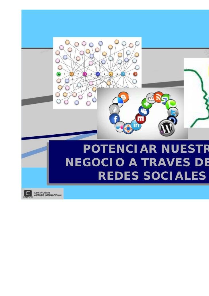 POTENCIAR NUESTRO  POTENCIAR NUESTRONEGOCIO A TRAVES DE LASNEGOCIO A TRAVES DE LAS    REDES SOCIALES    REDES SOCIALES    ...