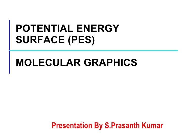 POTENTIAL ENERGY SURFACE (PES) MOLECULAR GRAPHICS Presentation By S.Prasanth Kumar