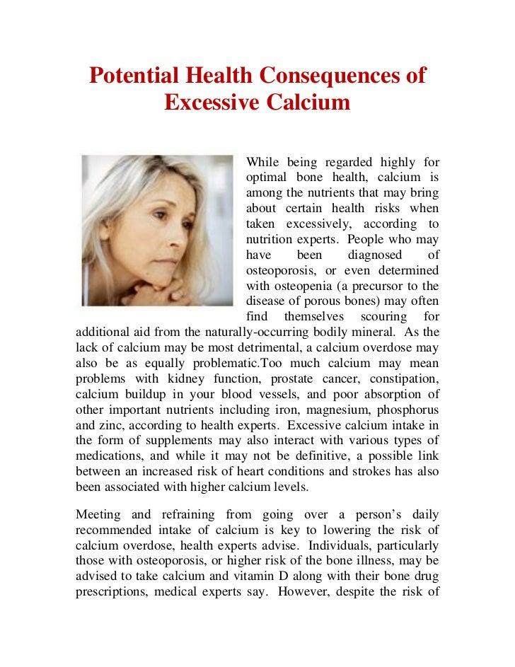 Potential health consequences of excessive calcium